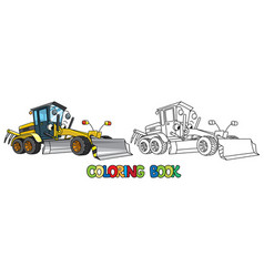 funny grader car with eyes coloring book vector image