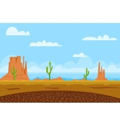 game flat background shows desert and monument vector image