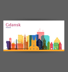 gdansk city architecture silhouette vector image