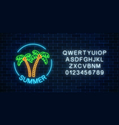 glowing neon summer sign with two palms text in vector image