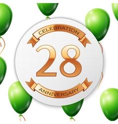 Golden number twenty eight years anniversary vector image