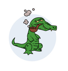 Grumpy crocodile smoking pipe vector