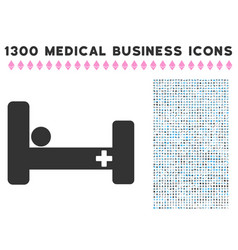 hospital bed icon with 1300 medical business icons vector image