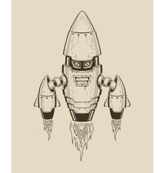 It is an image robot-rocket vector