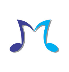 letter m music note logo icon vector image