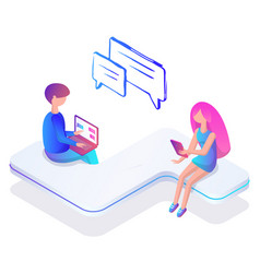 man and woman messaging social network internet vector image