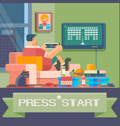 Man sitting at home and playing games vector