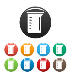 Measurement pot icons set color vector