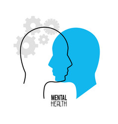 Mental health silhouette person with gears vector