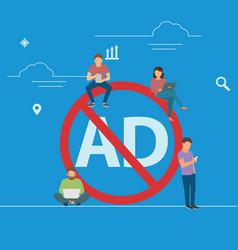 Mobile ad prohibition concept vector