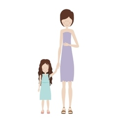 mother holding hand a little girl vector image