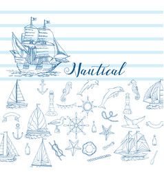 nautical background with sailing vessels and wheel vector image
