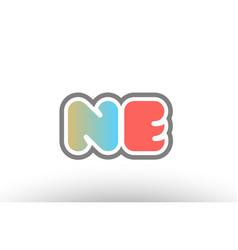 Orange pastel blue alphabet letter ne n e logo vector