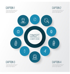 People outline icons set collection of business vector