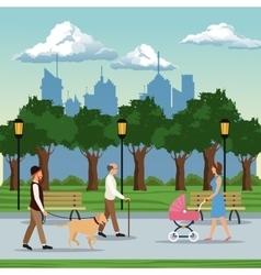 People visiting city park brench lamp postlight vector