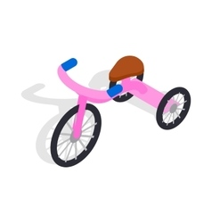 Pink tricycle icon isometric 3d style vector