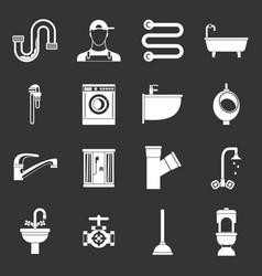 Plumbing icons set grey vector