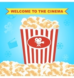 Pop corn in red box poster vector