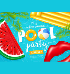 realistic inflatable pool poster vector image