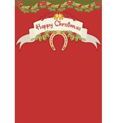 Red christmas card with horseshoe and holly berry vector image