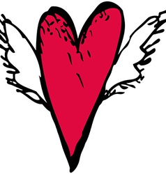 Red heart with white wings sketch doodle vector image