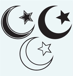Religious Islamic Star and Crescent vector image