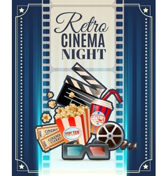 Retro Cinema Night Invitation Poster vector