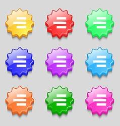 Right-aligned icon sign Symbols on nine wavy vector