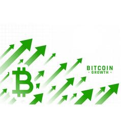 Rising price bitcoin growth chart design vector