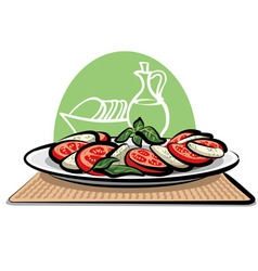 Salad with tomatoes and mozzarella vector