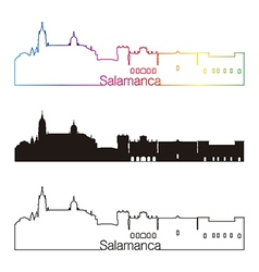 Salamanca skyline linear style with rainbow vector