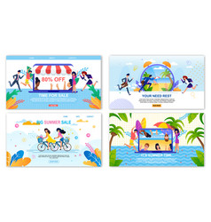Sales landing page and rest welcoming banners set vector