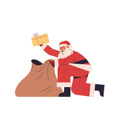Santa claus packing presents gift boxes in sack vector