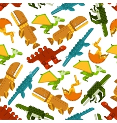 Seamless dinosaurs and prehistoric animals pattern vector image