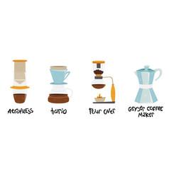 Set 4 coffee makers vector