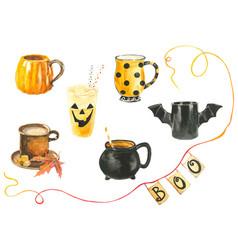 Set funny watercolor halloween cups in vector