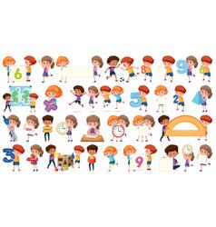 set math kids vector image