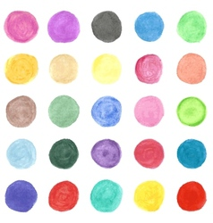 Set of colorful watercolor hand painted circle vector image