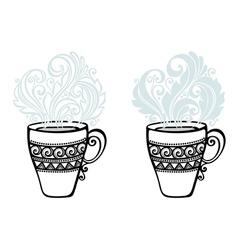 Set of Decorative Cups of Tea vector
