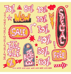 Set of hand draw discount sale sticker and tag vector image
