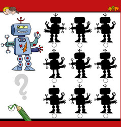 shadow differences game with robot vector image