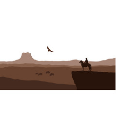 silhouette of desert with cowboy on horse vector image