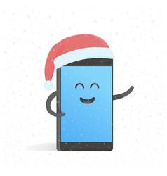 smartphone new year concert in santa hat cute vector image