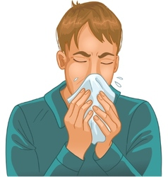 Sneezing man vector