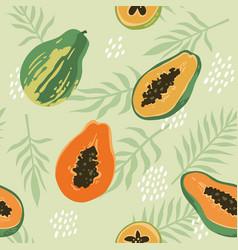 Summer pattern with papaya seamless texture design vector