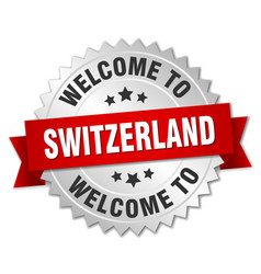 switzerland 3d silver badge with red ribbon vector image