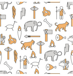 thin line art cave people seamless pattern vector image