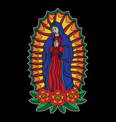 Traditional virgin mary tattoo vector
