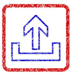 Upload grunge framed icon vector