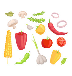Vegetables veggies icons set vector